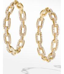women's david yurman stax chain link hoop earrings in 18k yellow gold with diamonds