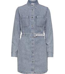 relaxed shirt dress belt kort klänning blå calvin klein jeans