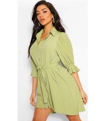 blouse jurk met pofmouwen en ceintuur, olijf