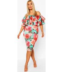 plus off the shoulder floral midi dress, green