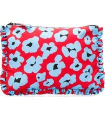la doublej flower leopard pouch - red