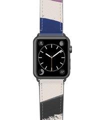 women's casetify zebra pop saffiano faux leather apple watch strap