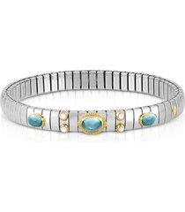 nomination designer bracelets, stainless steel women's bracelet w/light blue topaz oval beads