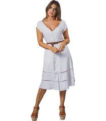 vestido adrissa blanco femenino escote v con apliques