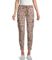 vintage havana women's leopard-print cargo joggers - soft leopard print - size s