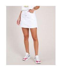 saia de sarja feminina curta com botões e barra a fio branca