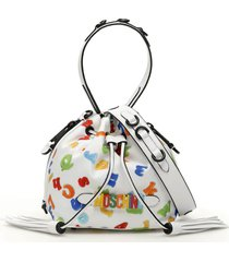 moschino numbers and letters print small satchel bag
