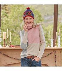 sundance catalog women's stargazer patchwork sweater petite in rose i petite 2xs