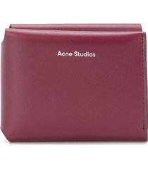 acne studios logo-print trifold wallet - red