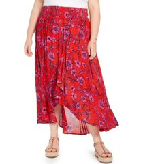 band of gypsies trendy plus size floral-print wrap-front skirt