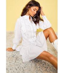 katoenen blouse jurk met ruches, wit