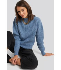 na-kd high neck ribbed knitted sweater - blue