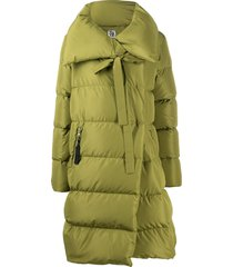 bacon wrap-tie padded down coat - green
