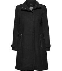 frlawooly 1 outerwear wollen jas lange jas zwart fransa
