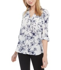 bcx juniors' printed button-front shirt