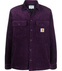 carhartt wip corduroy logo patch shirt - purple