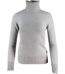 malo half-rib cashmere turtleneck sweater with ribbed waist