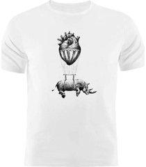 camiseta manga curta nerderia rhino branco - branco - masculino - dafiti
