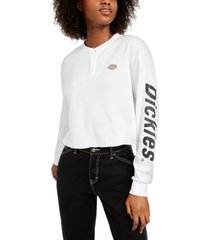 dickies cotton cropped thermal henley top