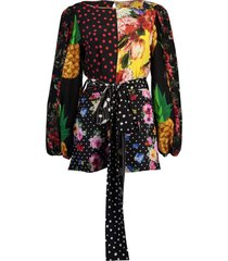 long-sleeved patchwork crepe de chine blouse with belt