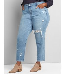 lane bryant women's signature fit girlfriend straight jean - lace-backed ripped light wash 26 light denim