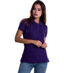 camiseta polo hamer, básica de mujer, casual, para uso diario, clasica color morado
