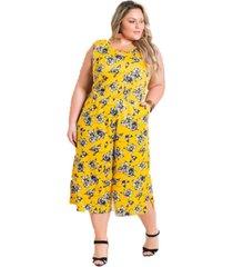 macacã£o pantacourt plus size floral amarelo - amarelo - feminino - dafiti