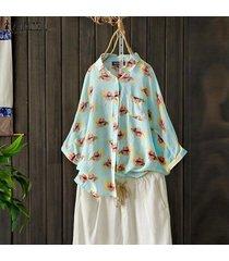 zanzea mujeres abajo de los botones florales de impresión largos tapas de la camisa de la blusa gira el collar abajo plus -azul claro