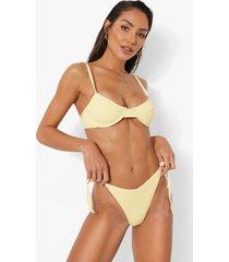 bikini top met textuur, schouder strikjes en beugel, lemon