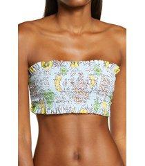 women's tory burch costa smocked bandeau bikini top, size small - blue