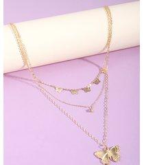 collar a capas con colgante de mariposa de oro