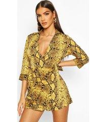snake print shirt style romper, mustard