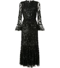 needle & thread flared cuff embellished gown - black