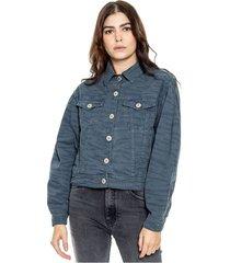 chaqueta trucker con volumen en mangas y estampado animal print color blue