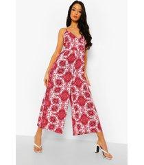 paisley culotte jumpsuit met ceintuur, red