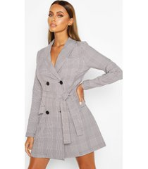 dog tooth flannel double breasted belted blazer dress, grey
