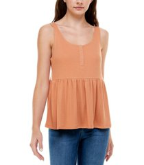 ultra flirt juniors' henley babydoll tank top