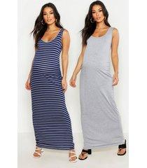 zwangerschap effen en gestreepte maxi jurken (2 stuks), meerdere