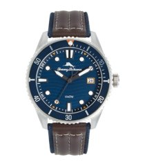 tommy bahama men's ocean sport diver leather and nylon strap watch, 48mm
