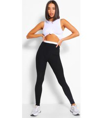 contrast waistband ribbed jersey legging, black