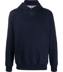 brunello cucinelli striped long-sleeve hoodie - blue