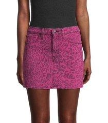 hudson women's leopard-print denim mini skirt - troop leopard - size 26 (2-4)