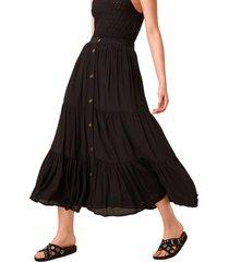 women's french connection easha drape maxi skirt, size 6 - black