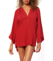 fringed hem tunic coverup