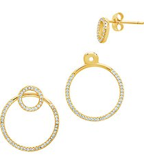 14k goldplate & cubic zirconia convertible earrings