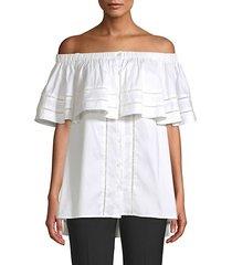 off-the-shoulder button blouse