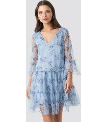 na-kd ruffle mesh mini dress - blue