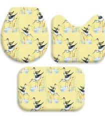 kit 3 tapetes decorativos para banheiro wevans flamingo amarelo - amarelo/multicolorido - dafiti
