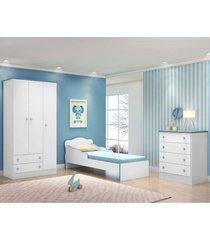 jogo de quarto infantil doce sonho 3 portas com mini cama branco/azul - qmovi
