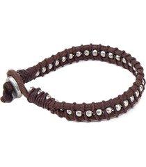 pulsera de hombre cuero marrón bracciale corda e aluminio leather man colection by vestopazzo